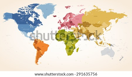 A Vintage colors High Detail vector Map illustration of the whole world map. - stock vector