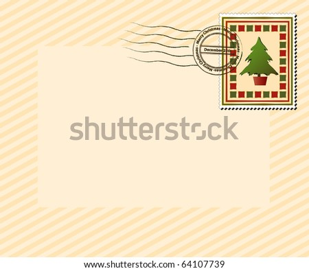 """A vintage style Christmas stamp with """"Merry Christmas, December 25th' post mark. EPS10 vector format with space for your text. - stock vector"""