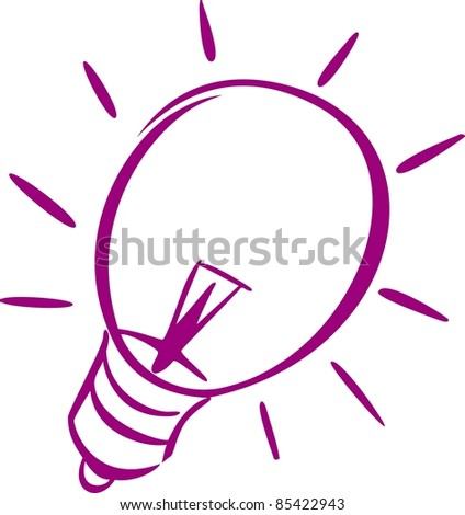 A violet icon of a light-bulb of a light-bulb. - stock vector