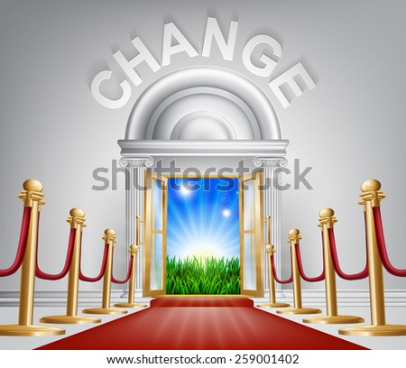 A VIP door to change opening to reveal a sunrise and beautiful green landscape. Perhaps a concept for hope for the future. - stock vector