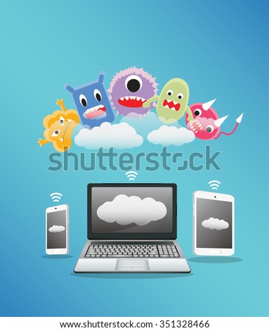 a virus computer receive a data from laptop smartphone and tablet  - stock vector