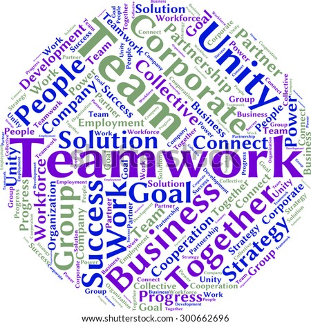 "A visual representation of the theme ""Teamwork"" in a word tag cloud"