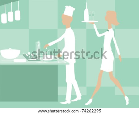 A waitress working with a chef.