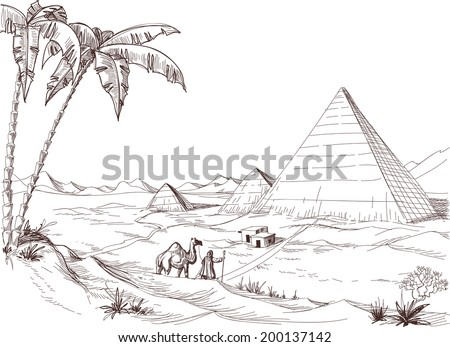 A walk in the desert sketch - stock vector