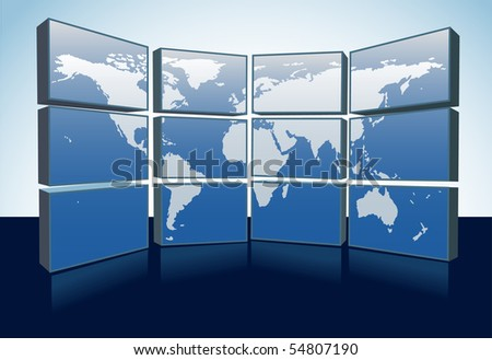A wall of monitors display a world map of Earth on a group of computer or tv screens. - stock vector