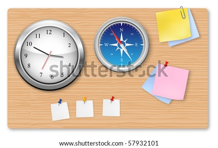 A wall office clock, compass and supplies on the board.