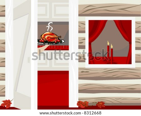 A warm and inviting Holiday Home.  An open door welcomes the visitor, and a turkey is being served.  The Holiday Home vector is in easy edit layers and in AI-EPS8 format. - stock vector