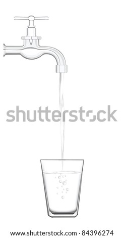 a water tap with realistic flowing water, filling up a glass on a white background