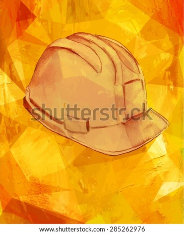 A watercolor drawing of a hard hat on a textured background, scalable vector graphic - stock vector