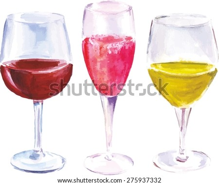 A watercolor set of three wine glasses (with red wine, sparkling rose and white wine), scalable vector graphic - stock vector