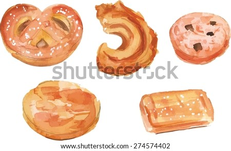 A watercolour drawing of traditional Danish butter cookies, scalable vector graphic - stock vector