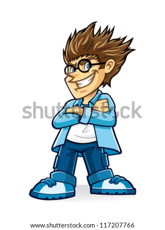 a wearing glasses young man with bushy hair who look cynical and crossed his arms - stock vector