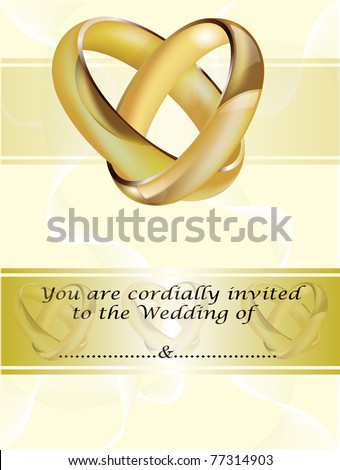 A wedding invitation card with intertwined gold rings and room for text - stock vector