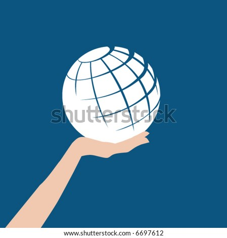 A white abstract globe is held in a hand against a blue background - stock vector
