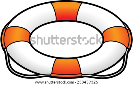 A white and orange lifesaver / life preserver. - stock vector