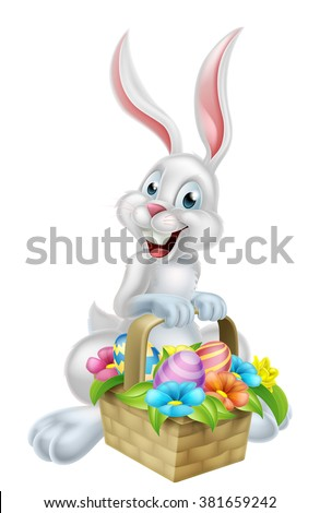 A white cartoon Easter bunny rabbit mascot character holding an Easter basket full of chocolate Easter eggs on an Easter egg hunt - stock vector