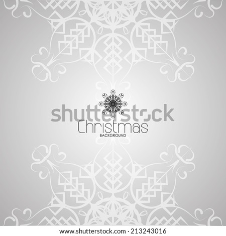 a white christmas card with a pair of snowflakes and text - stock vector