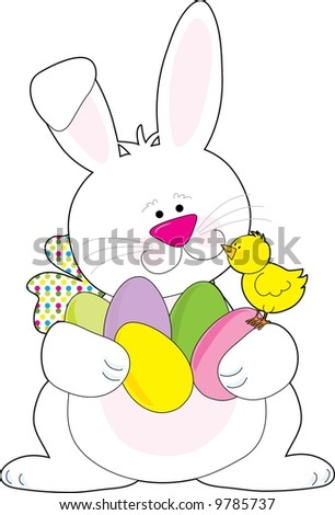 A white Easter Bunny holding lots of Easter eggs