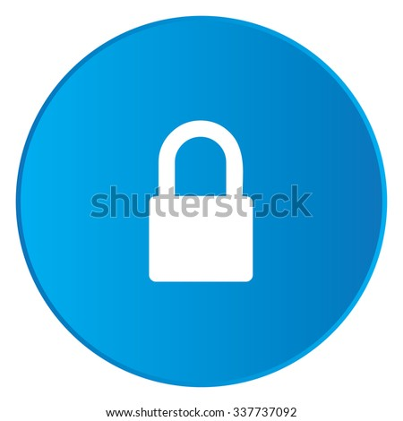 A White Icon Isolated on a Blue Button - Padlock