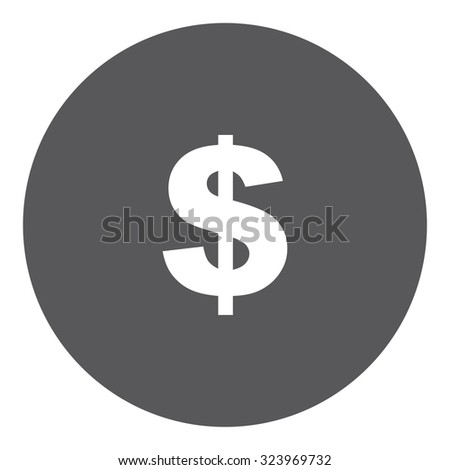 A White Icon Isolated on a Grey Background - Dollar