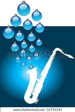 A white sax with Christmas baubles coming out of it - stock vector