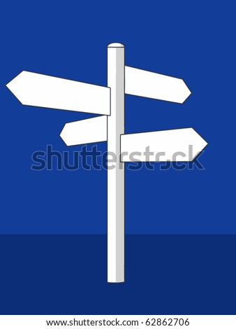 A white vector crossroad sign on a blue background - stock vector