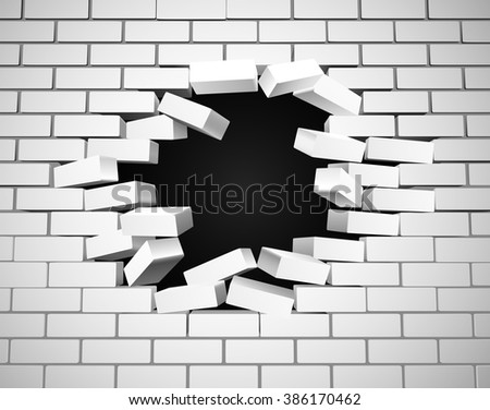 A white wall being smashed or breaking apart - stock vector