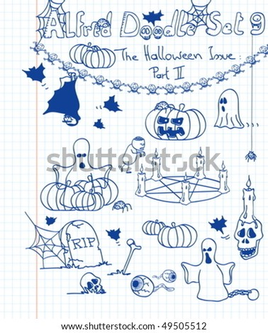 A whole lot of scary, freaky and spooky stuff in your favourite doodle style - stock vector