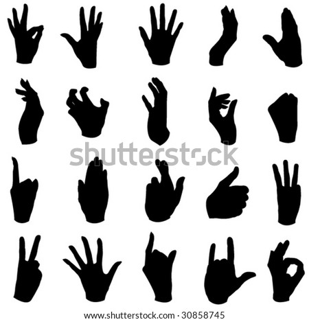 A wide range of hand movements - stock vector