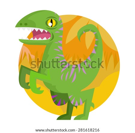 a wild raptor dinosaur - stock vector