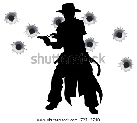 A wild west gunslinger drawing and firing his gun in a shootout with bullet holes in the background - stock vector