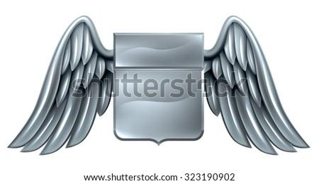 A winged silver steel metal shield heraldic heraldry coat of arms design - stock vector