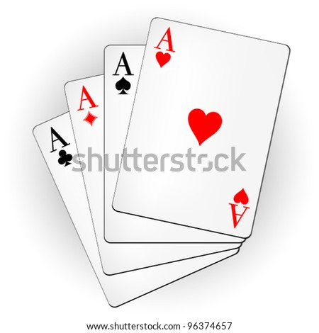 A winning poker hand of four aces playing cards suits on white: hearts, diamonds, clubs, spades. Vector illustration. - stock vector