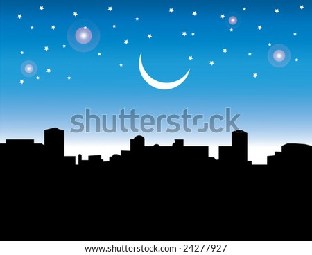 A winter night with glittering star & Moon.visit my gallery for more. - stock vector