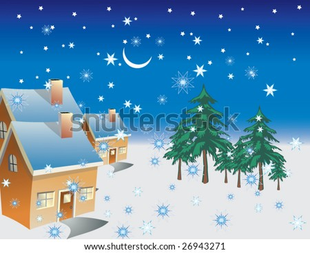 A winter night with rising moon & star in a small village falling snowflake - stock vector