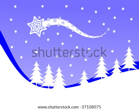 A  winter vector background illustration with white trees on snowy hills with a blue evening sky with room for text