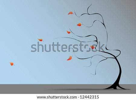 A Winter wind at the end of Autumn blows the last fall leaves from the branches of a tree on a windy day. - stock vector