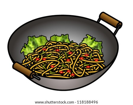 Kitchen utensils clip art pan - A Wok With Stir Fried Noodles And Greens Stock Vector