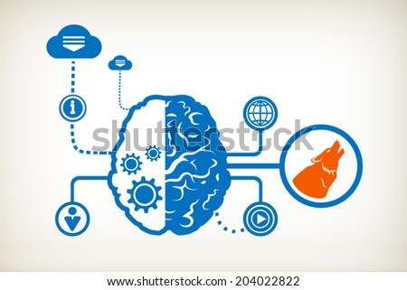 A wolf and abstract human brain, the concept of the information movement - stock vector