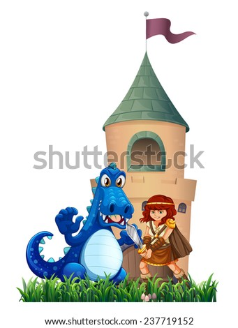 A woman and a dragon outside the castle on a white background - stock vector