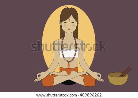 A Woman Doing Yoga and Meditation - stock vector