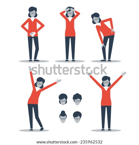 A woman having stomach ache, headache, knee and back ache. Recovered from pain - stock vector