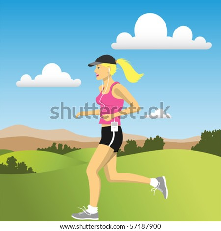 A Woman jogging in the Countryside - stock vector