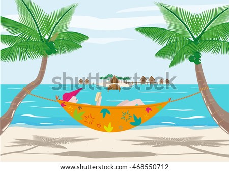 A Woman Reads Book While Resting On Beach Editable Clip Art