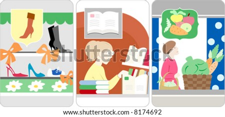 A woman shopping in a grocery store, shoes store, books store - stock vector