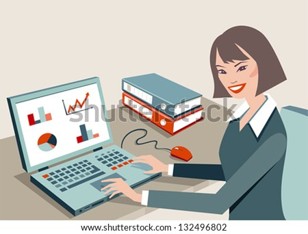 A woman sits at a desk in front of a computer - stock vector