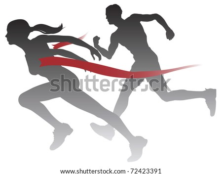 A woman winning a race breaking through the finish line. - stock vector