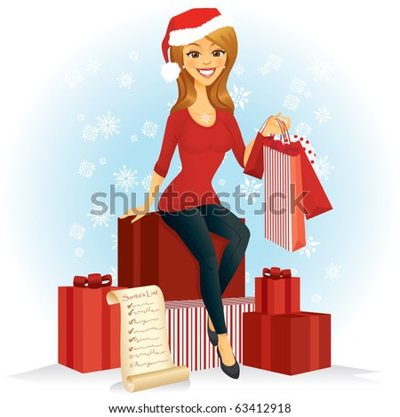 A woman with shopping bags sits on a pile of Christmas gifts wearing a Santa hat. - stock vector