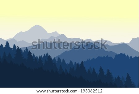 A wonderful morning in the blue mountains - stock vector