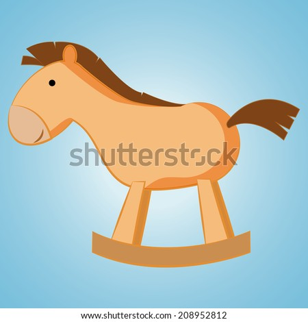 a wooden horse on a blue background